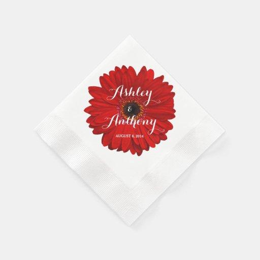 Red Gerbera Gerber Daisy Personalized Wedding Paper Napkins