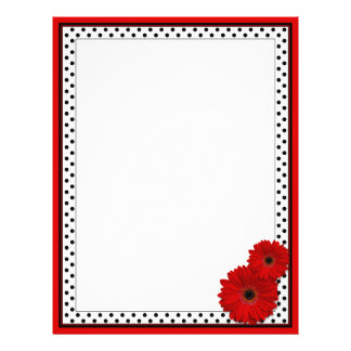 Red Gerbera Polka Dot Customize Your Own Flyers