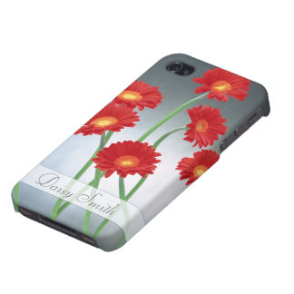 Red Gerberas on a blue gray background iPhone 4 Cases