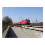 Red German Train Postcard