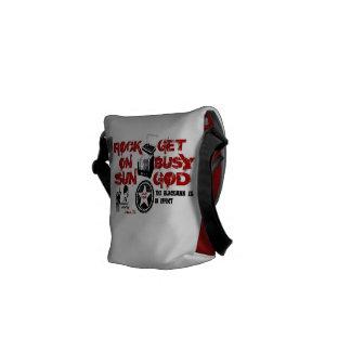 Red Get busy God Mini Messenger Bag