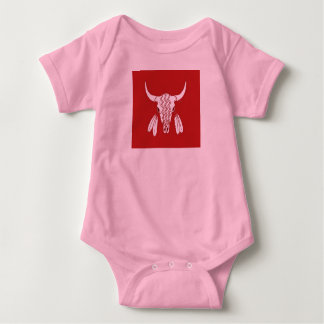 Red Ghost Dance Buffalo baby girls pink bodysuit
