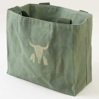 Red Ghost Dance Buffalo canvas utility tote bag