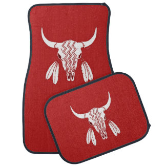Red Ghost Dance Buffalo car mats front & back