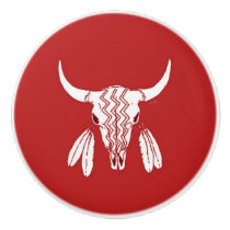 Red Ghost Dance Buffalo ceramic knob
