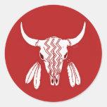Red Ghost Dance Buffalo round sticker