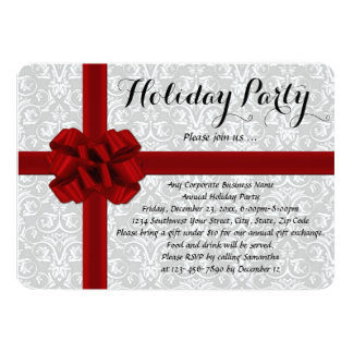 Red Gift Bow Holiday Party Invitations