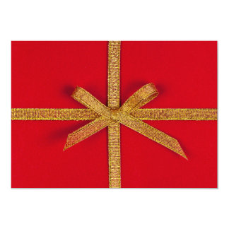 Red gift with gold ribbon personalized invitation