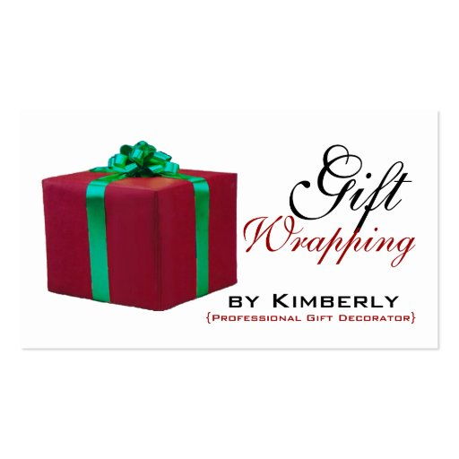 Red Gift Wrapping Service Business Cards