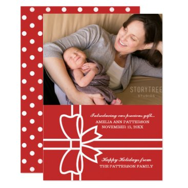 Beach Themed Red Gifted Holiday Photo Flat Card