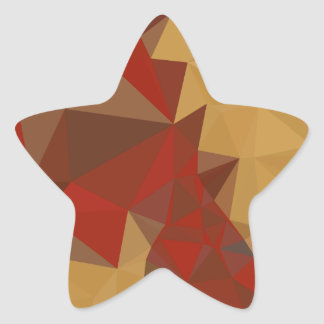 Red Ginger Abstract Low Polygon Background Star Sticker