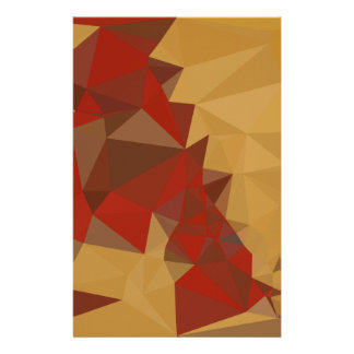 Red Ginger Abstract Low Polygon Background Stationery