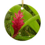 Red Ginger Flower I Ceramic Ornament