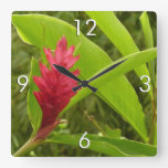 Red Ginger Flower I Square Wall Clock