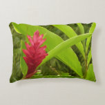 Red Ginger Flower I Tropical Nature Accent Pillow