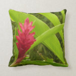 Red Ginger Flower I Tropical Nature Throw Pillow