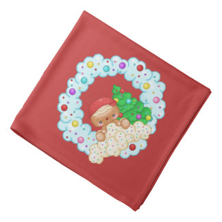 Red Gingerbread Boy Wreath Pixel Art Bandana