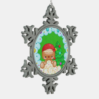 Red Gingerbread Boy Wreath Pixel Art Snowflake Pewter Christmas Ornament