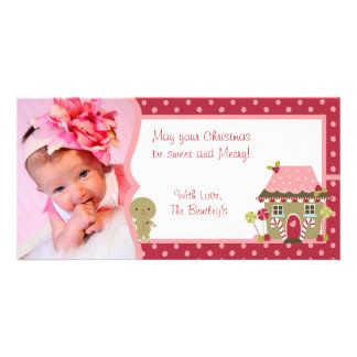 Red Gingerbread Christmas Personalized Photo Card