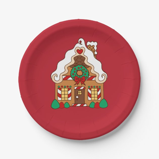 sc 1 st  Zazzle & Red Gingerbread House Christmas Party Paper Plates | Zazzle.com
