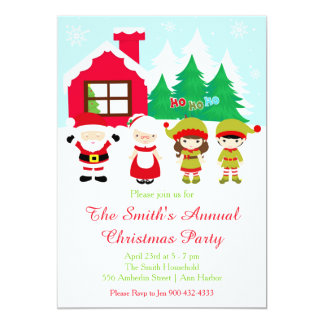 Red Gingerbread House Decorating Christmas Party Card