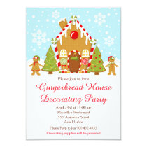 Red Gingerbread House Decorating Christmas Party Invitation