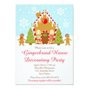 Gingerbread House Decorating Christmas Invitations Zazzle