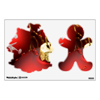 Red Gingerbread Man and House Wall Decals
