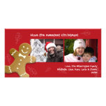Red gingerbread man sweet candy canes Christmas Photo Card