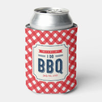 Red Gingham and Blue I Do BBQ Engagement Party Can Cooler