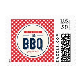 Red Gingham and Blue I Do BBQ Engagement Postage