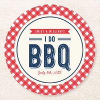 Red Gingham and Blue I Do BBQ Party Round Paper Coaster