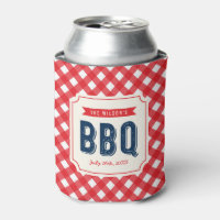 Red Gingham and Blue Summer BBQ Can Cooler