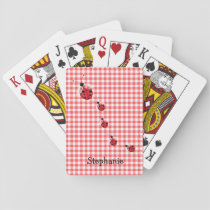Red Gingham and Ladybugs Custom Playing Cards
