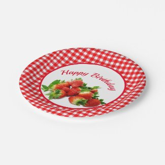 Red Gingham and Strawberries Birthday Party Paper Plate