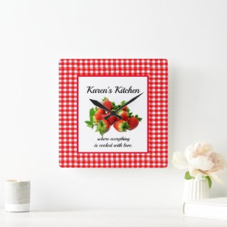 Red Gingham and  Strawberries Wall Clock