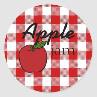 Red Gingham-Apple Jam Classic Round Sticker