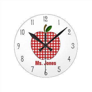 Red Gingham Apple Teacher Clock