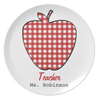 Red Gingham Apple Teacher Plates