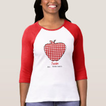 Red Gingham Apple Teacher T-Shirt