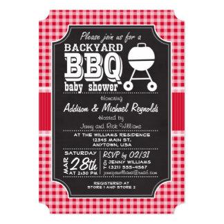 Red Gingham BBQ Baby Shower Invitation