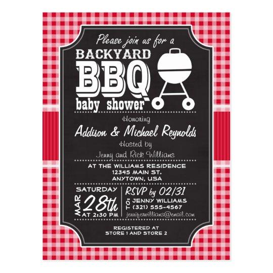 Red Gingham BBQ Baby Shower Invitation Postcard Zazzlecom