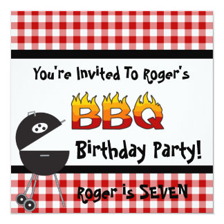 """Red Gingham BBQ Birthday Party Invitations 5.25"""" Square Invitation Card"""