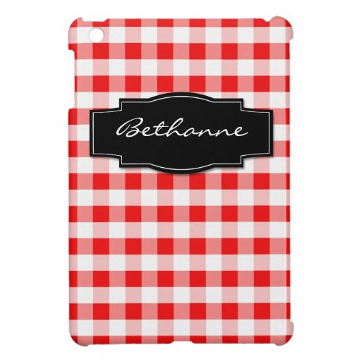Red Gingham & Black personalized iPad Mini Case