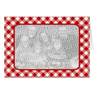 Red Gingham Blank Photo Card
