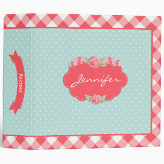 Red Gingham, Blue Polka Dots Binder