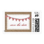 Red Gingham Bunting Burlap Inspired Save The Date Postage Stamps