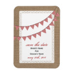 Red Gingham Bunting Burlap Inspired Save The Date Magnets