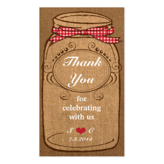 Red Gingham & Burlap Mason Jar Favor Tags Double-Sided Standard Business Cards (Pack Of 100)