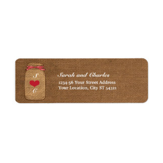 Red Gingham & Burlap Mason Jar Return Address Label